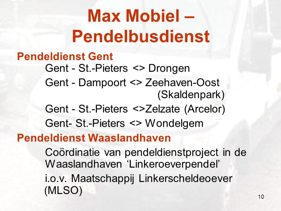 Max Mobiel – Pendelbusdienst Pendeldienst Gent Gent - St.-Pieters <> Drongen Gent - Dampoort <> Zeehaven-Oost (Skaldenpark) Gent - St.-Pieters <>Zelza