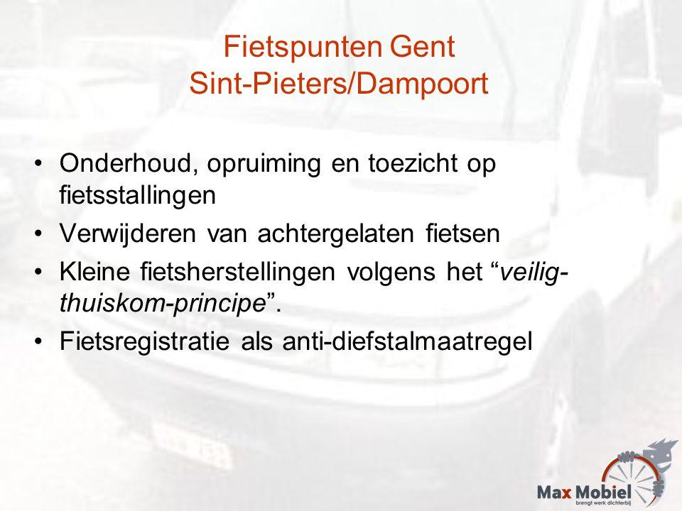 Fietspunten Gent Sint-Pieters/Dampoort Onderhoud, opruiming en toezicht op fietsstallingen Verwijderen van achtergelaten fietsen Kleine fietsherstelli