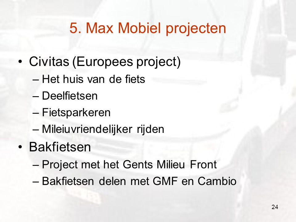 5. Max Mobiel projecten Civitas (Europees project) –Het huis van de fiets –Deelfietsen –Fietsparkeren –Mileiuvriendelijker rijden Bakfietsen –Project