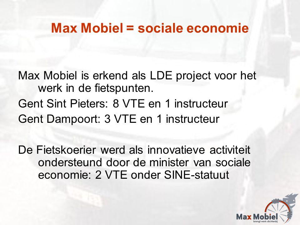 Max Mobiel = sociale economie Max Mobiel is erkend als LDE project voor het werk in de fietspunten. Gent Sint Pieters: 8 VTE en 1 instructeur Gent Dam