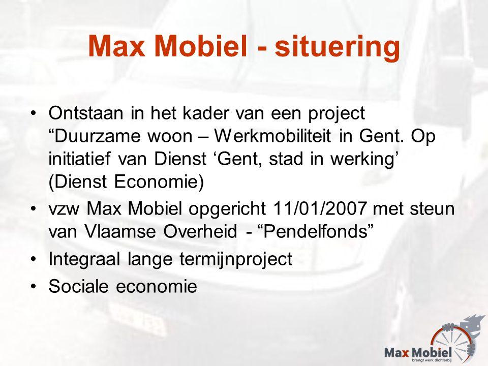 """Max Mobiel - situering Ontstaan in het kader van een project """"Duurzame woon – Werkmobiliteit in Gent. Op initiatief van Dienst 'Gent, stad in werking'"""