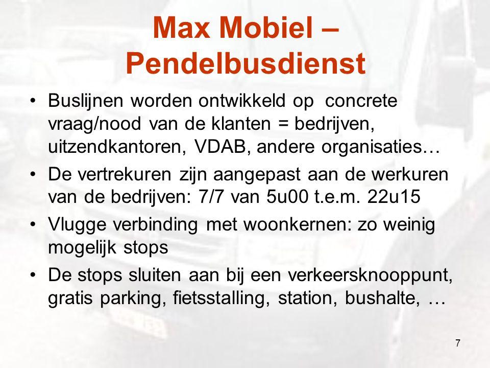 Max Mobiel – Pendelbusdienst Buslijnen worden ontwikkeld op concrete vraag/nood van de klanten = bedrijven, uitzendkantoren, VDAB, andere organisaties
