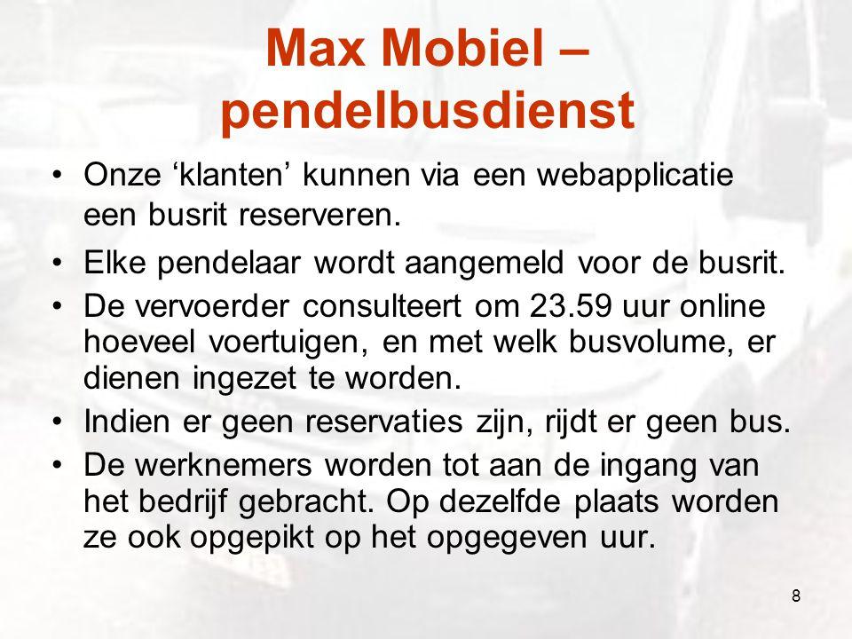 Max Mobiel – pendelbusdienst Onze 'klanten' kunnen via een webapplicatie een busrit reserveren. Elke pendelaar wordt aangemeld voor de busrit. De verv