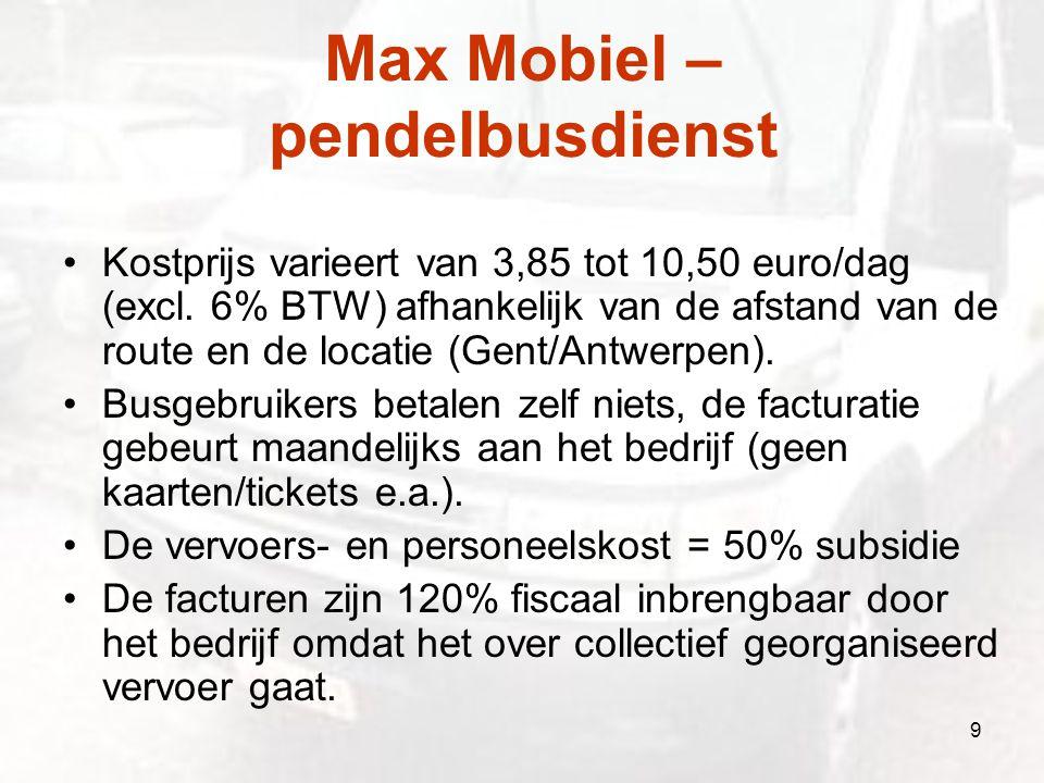 Max Mobiel – pendelbusdienst Kostprijs varieert van 3,85 tot 10,50 euro/dag (excl. 6% BTW) afhankelijk van de afstand van de route en de locatie (Gent