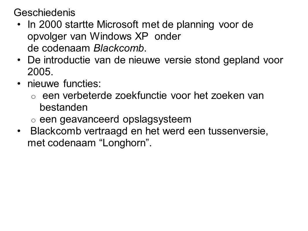 Geschiedenis In 2000 startte Microsoft met de planning voor de opvolger van Windows XP onder de codenaam Blackcomb.
