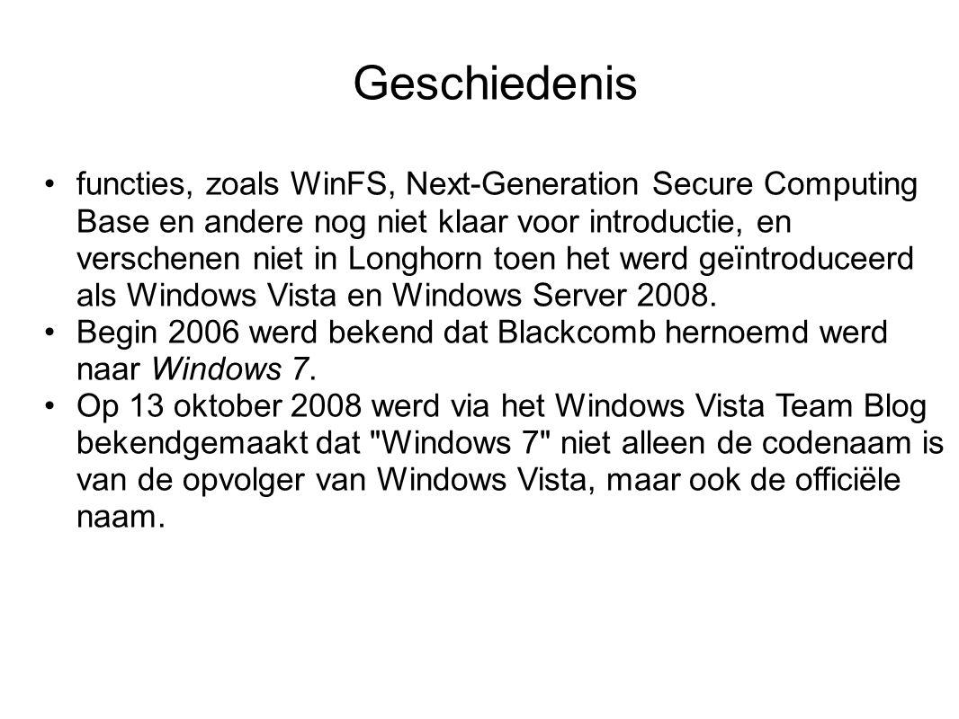 Geschiedenis functies, zoals WinFS, Next-Generation Secure Computing Base en andere nog niet klaar voor introductie, en verschenen niet in Longhorn toen het werd geïntroduceerd als Windows Vista en Windows Server 2008.