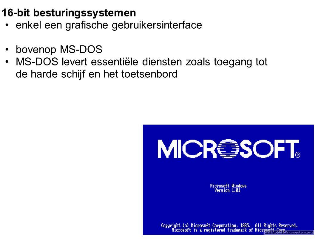 16-bit besturingssystemen enkel een grafische gebruikersinterface bovenop MS-DOS MS-DOS levert essentiële diensten zoals toegang tot de harde schijf en het toetsenbord