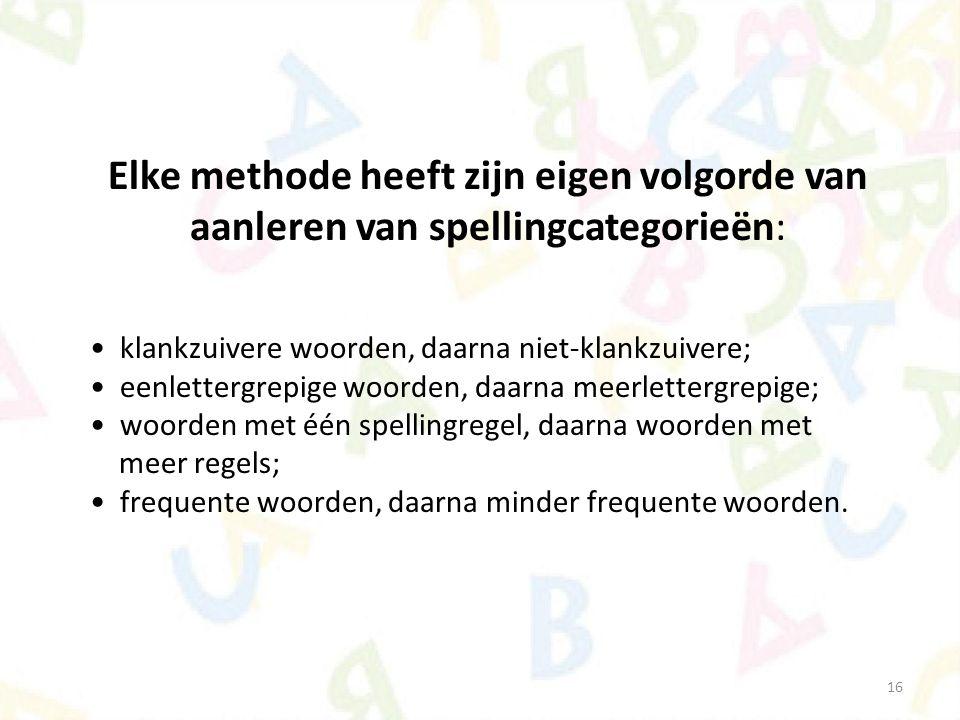 16 Elke methode heeft zijn eigen volgorde van aanleren van spellingcategorieën: klankzuivere woorden, daarna niet-klankzuivere; eenlettergrepige woord