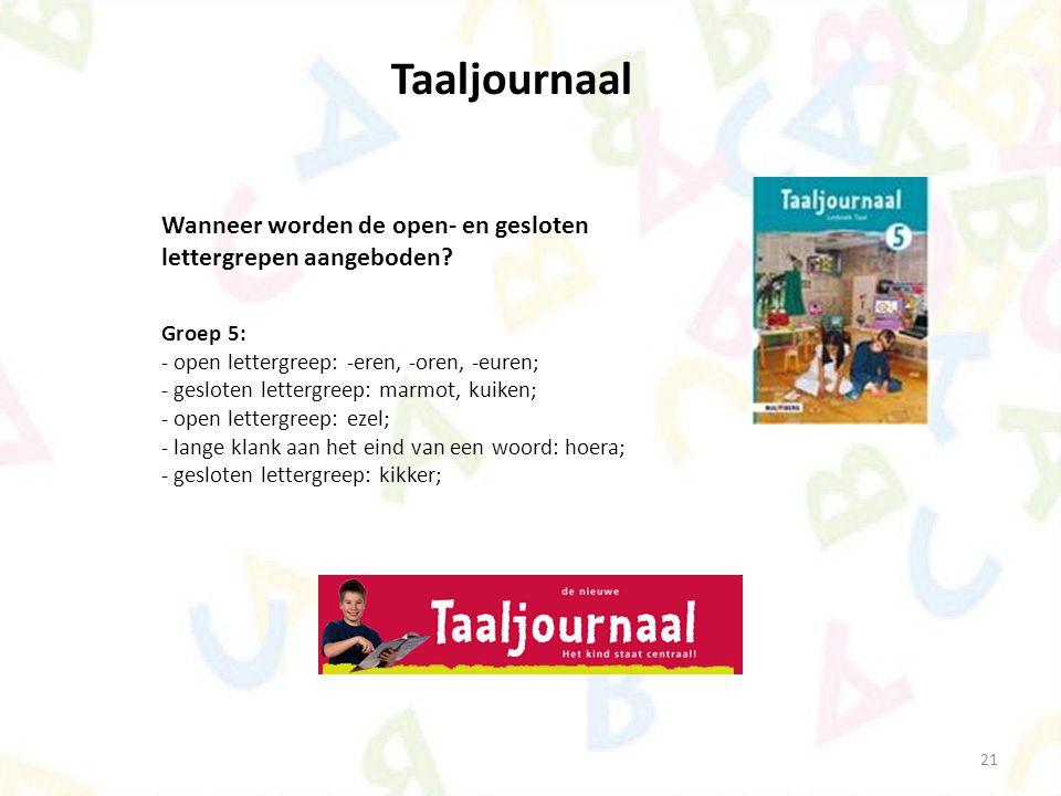 21 Taaljournaal Wanneer worden de open- en gesloten lettergrepen aangeboden? Groep 5: - open lettergreep: -eren, -oren, -euren; - gesloten lettergreep