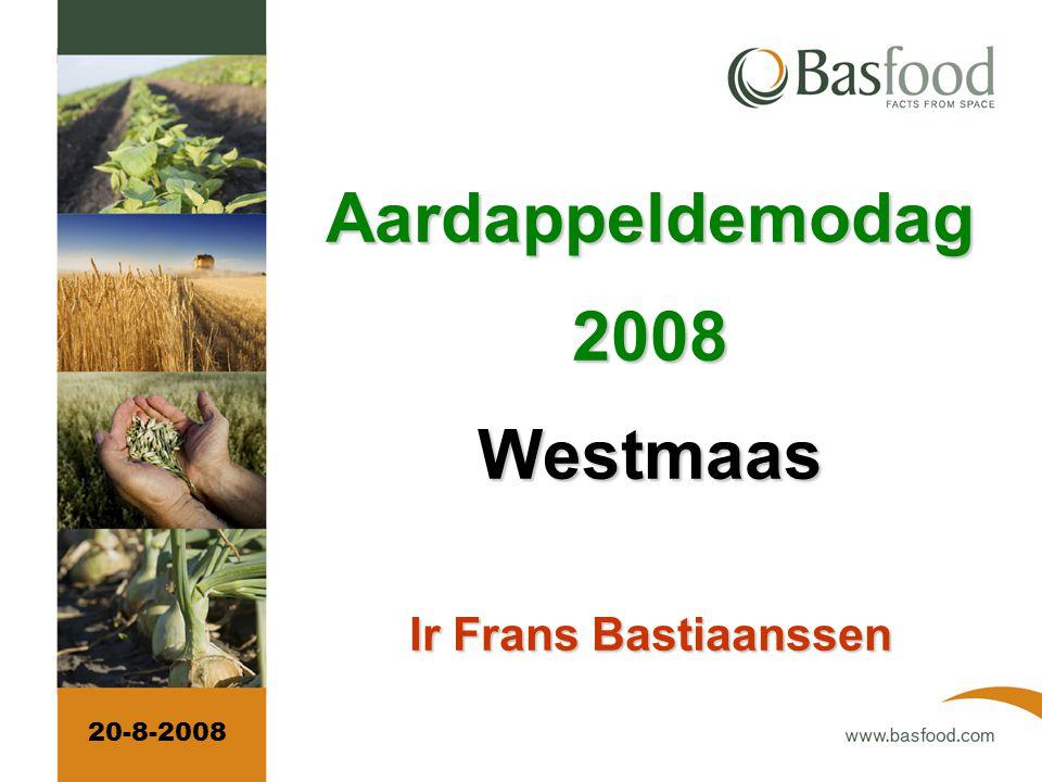 Eind juli en eind augustus bepaling van het aardappelareaal in de doelgebieden per regio van 25x25 km.