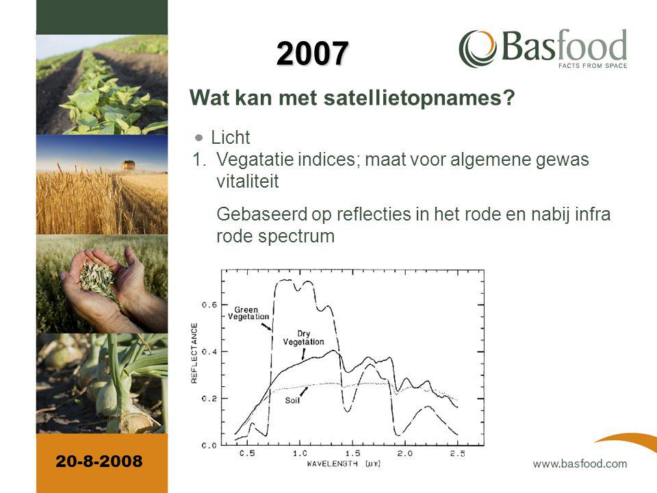Wat ziet een satelliet Zichtbaar en onzichtbaar licht Temperatuur 20-8-2008 2007