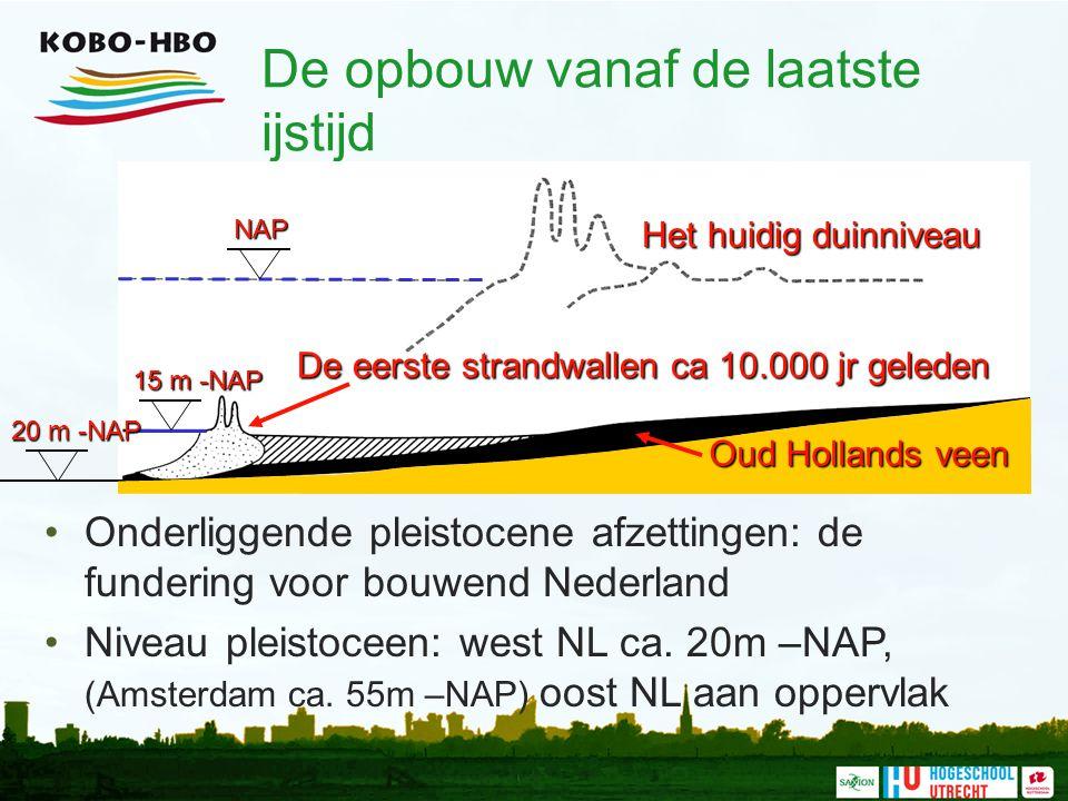 De opbouw vanaf de laatste ijstijd Onderliggende pleistocene afzettingen: de fundering voor bouwend Nederland Niveau pleistoceen: west NL ca. 20m –NAP