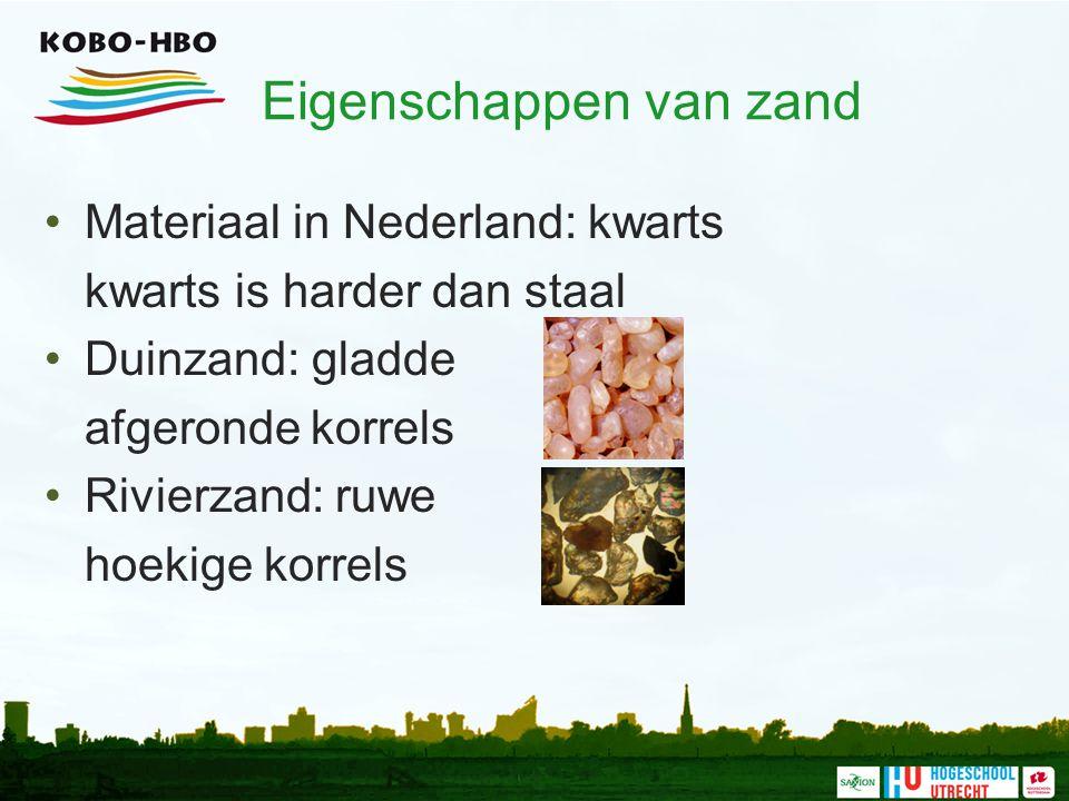 Eigenschappen van zand Materiaal in Nederland: kwarts kwarts is harder dan staal Duinzand: gladde afgeronde korrels Rivierzand: ruwe hoekige korrels