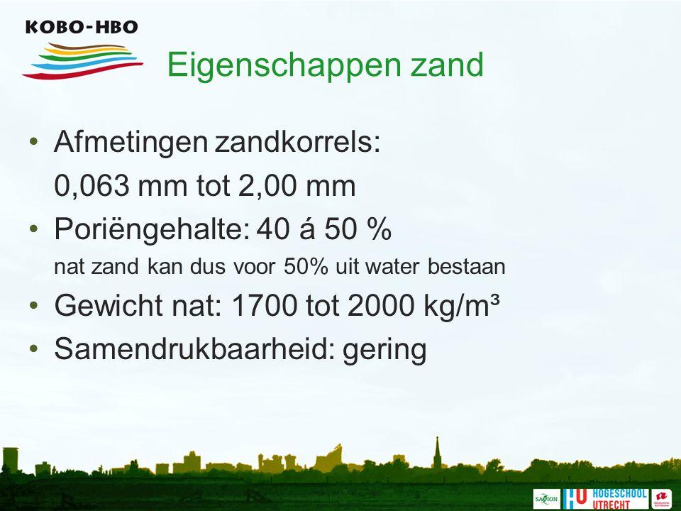 Eigenschappen zand Afmetingen zandkorrels: 0,063 mm tot 2,00 mm Poriëngehalte: 40 á 50 % nat zand kan dus voor 50% uit water bestaan Gewicht nat: 1700
