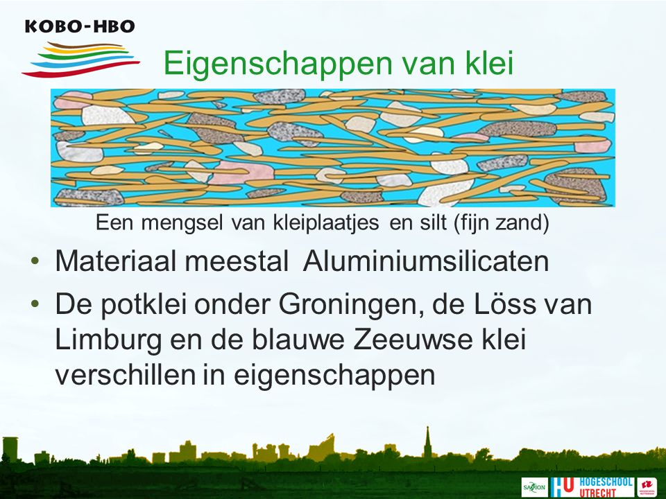 Eigenschappen van klei Een mengsel van kleiplaatjes en silt (fijn zand) Materiaal meestal Aluminiumsilicaten De potklei onder Groningen, de Löss van L