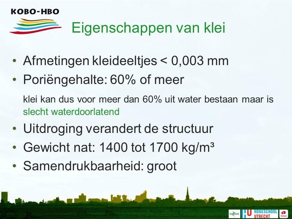 Eigenschappen van klei Afmetingen kleideeltjes < 0,003 mm Poriëngehalte: 60% of meer klei kan dus voor meer dan 60% uit water bestaan maar is slecht w