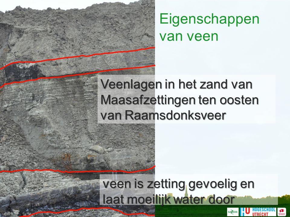 Eigenschappen van veen Veenlagen in het zand van Maasafzettingen ten oosten van Raamsdonksveer veen is zetting gevoelig en laat moeilijk water door