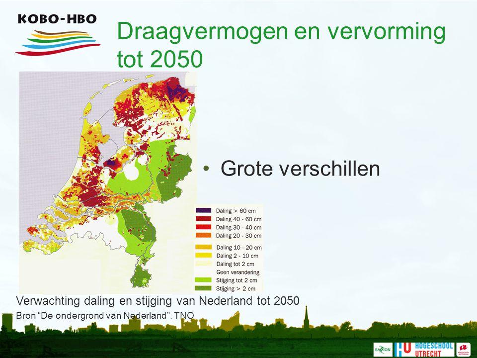 """Draagvermogen en vervorming tot 2050 Grote verschillen Verwachting daling en stijging van Nederland tot 2050 Bron """"De ondergrond van Nederland"""". TNO"""