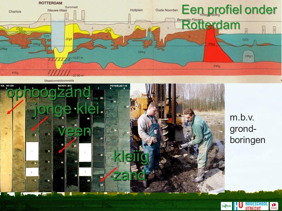 m.b.v. grond- boringen Een profiel onder Rotterdam ophoogzand jonge klei veenkleiïgzand