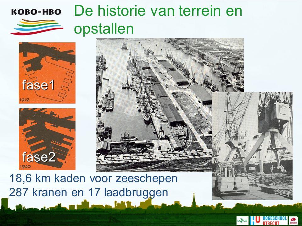 De historie van terrein en opstallen 18,6 km kaden voor zeeschepen 287 kranen en 17 laadbruggen fase1 fase2