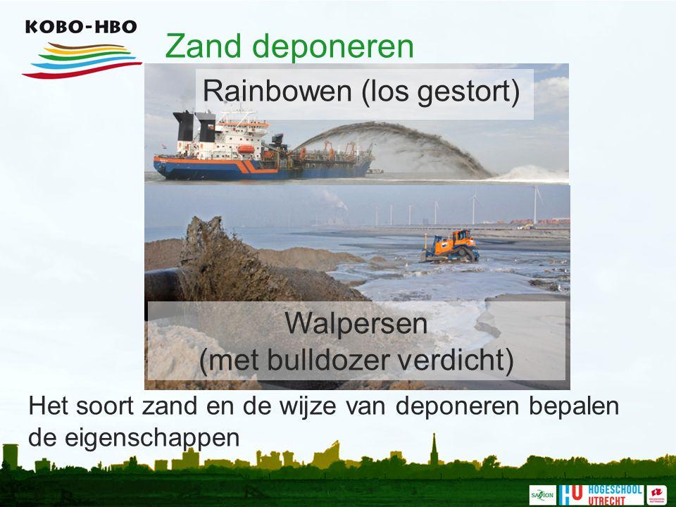 Zand deponeren Het soort zand en de wijze van deponeren bepalen de eigenschappen Walpersen (met bulldozer verdicht) Rainbowen (los gestort)