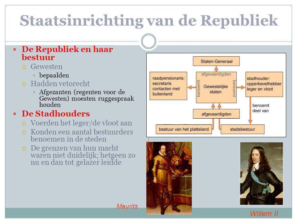 Staatsinrichting van de Republiek De Republiek en haar bestuur  Gewesten  bepaalden  Hadden vetorecht  Afgezanten (regenten voor de Gewesten) moes