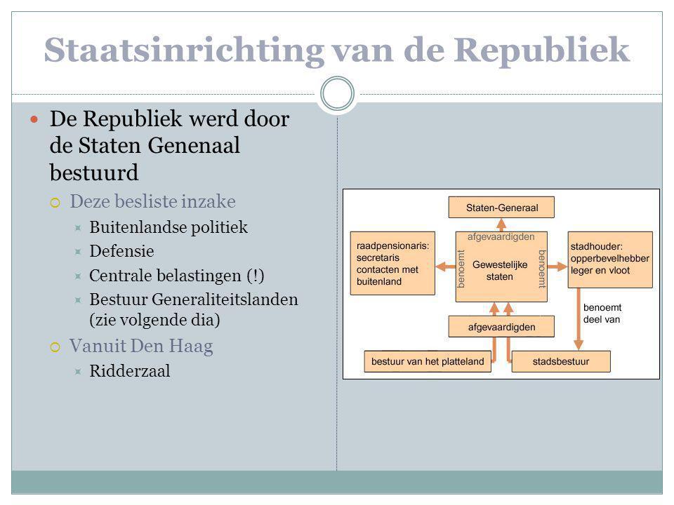 Staatsinrichting van de Republiek De Republiek werd door de Staten Genenaal bestuurd  Deze besliste inzake  Buitenlandse politiek  Defensie  Centr