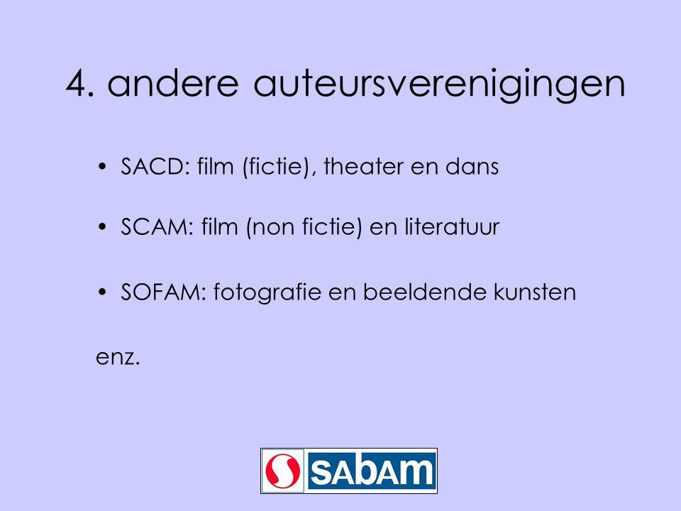 4. andere auteursverenigingen SACD: film (fictie), theater en dans SCAM: film (non fictie) en literatuur SOFAM: fotografie en beeldende kunsten enz.