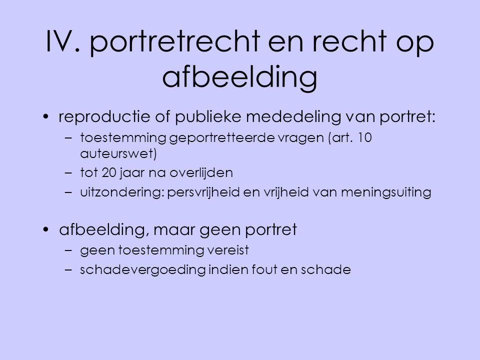 IV. portretrecht en recht op afbeelding reproductie of publieke mededeling van portret: –toestemming geportretteerde vragen (art. 10 auteurswet) –tot