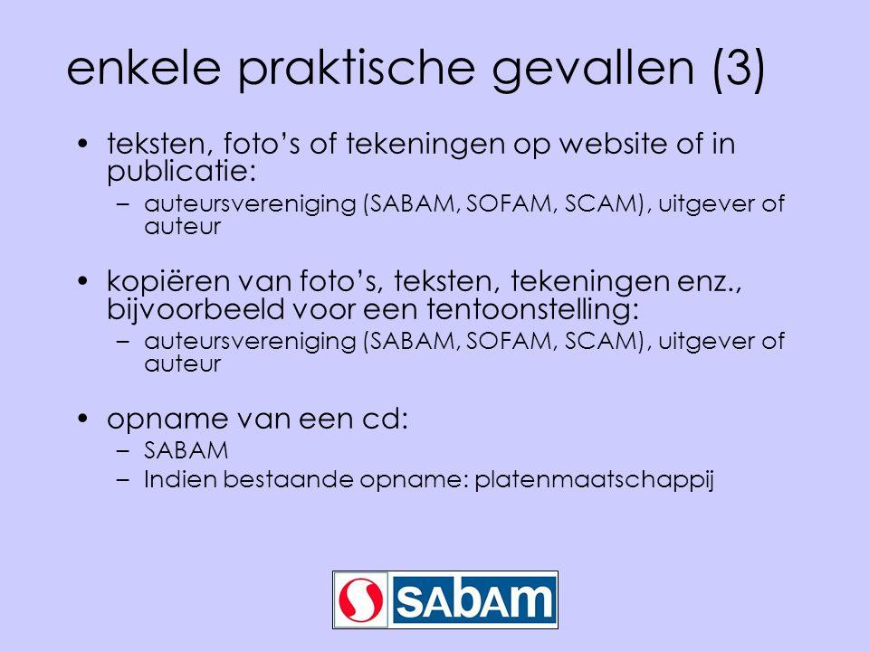 enkele praktische gevallen (3) teksten, foto's of tekeningen op website of in publicatie: –auteursvereniging (SABAM, SOFAM, SCAM), uitgever of auteur kopiëren van foto's, teksten, tekeningen enz., bijvoorbeeld voor een tentoonstelling: –auteursvereniging (SABAM, SOFAM, SCAM), uitgever of auteur opname van een cd: –SABAM –Indien bestaande opname: platenmaatschappij