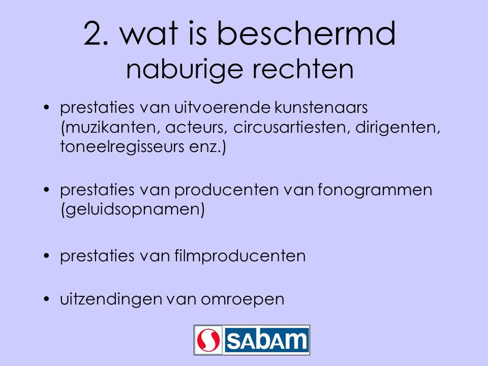 2. wat is beschermd naburige rechten prestaties van uitvoerende kunstenaars (muzikanten, acteurs, circusartiesten, dirigenten, toneelregisseurs enz.)