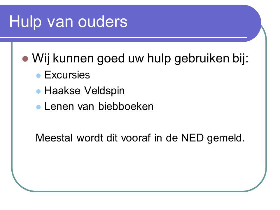 Hulp van ouders Wij kunnen goed uw hulp gebruiken bij: Excursies Haakse Veldspin Lenen van biebboeken Meestal wordt dit vooraf in de NED gemeld.