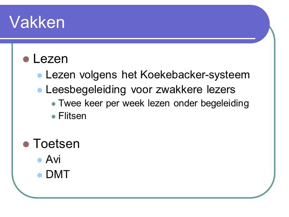 Vakken Lezen Lezen volgens het Koekebacker-systeem Leesbegeleiding voor zwakkere lezers Twee keer per week lezen onder begeleiding Flitsen Toetsen Avi DMT
