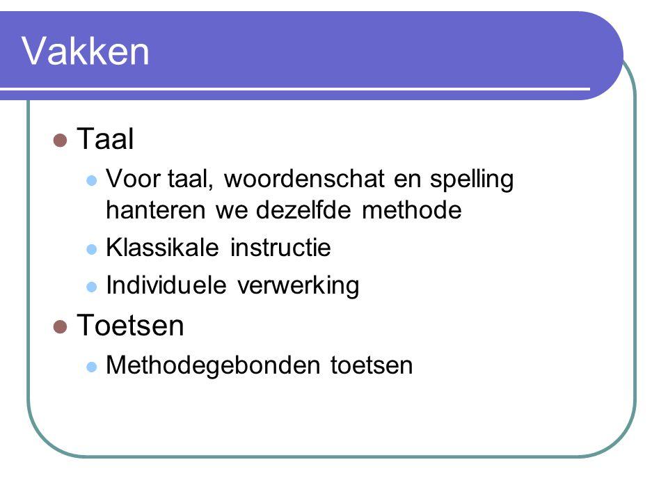 Vakken Taal Voor taal, woordenschat en spelling hanteren we dezelfde methode Klassikale instructie Individuele verwerking Toetsen Methodegebonden toetsen
