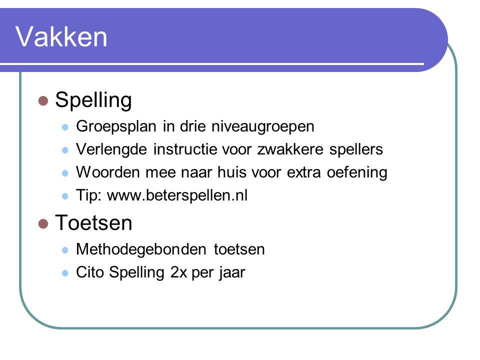 Vakken Spelling Groepsplan in drie niveaugroepen Verlengde instructie voor zwakkere spellers Woorden mee naar huis voor extra oefening Tip: www.beters