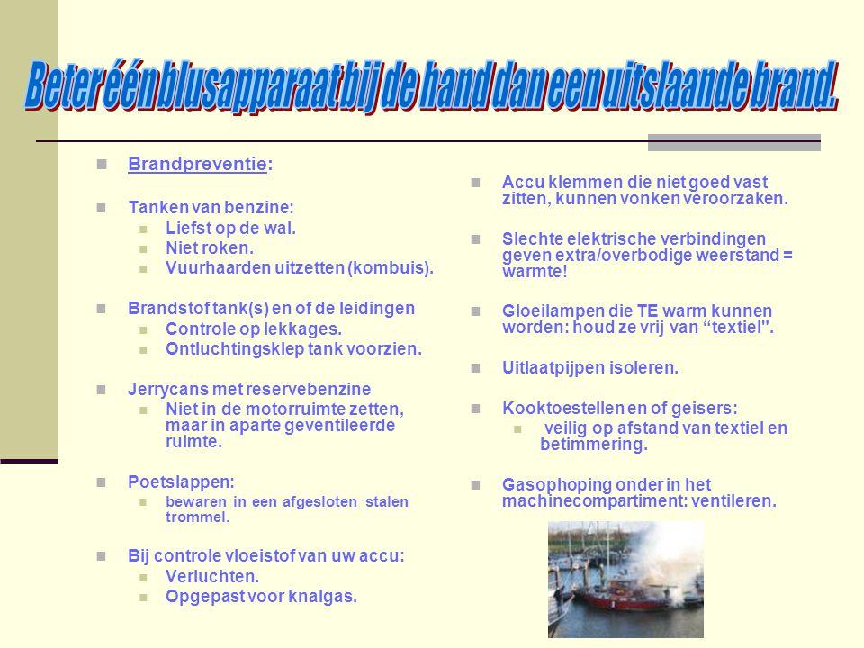 Brandpreventie: Tanken van benzine: Liefst op de wal. Niet roken. Vuurhaarden uitzetten (kombuis). Brandstof tank(s) en of de leidingen Controle op le