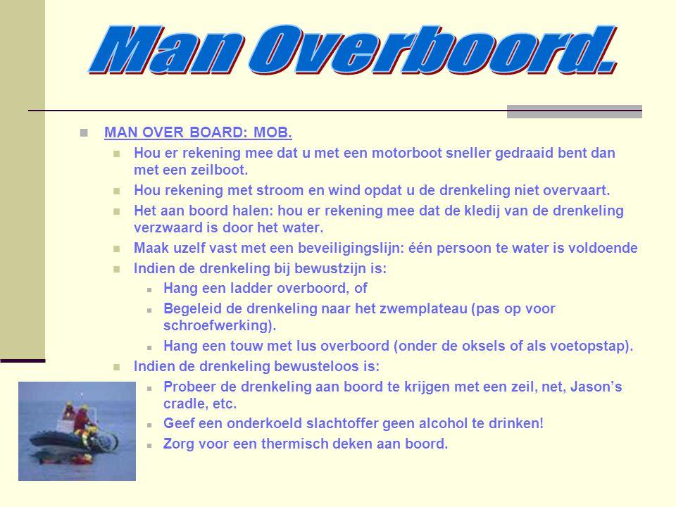 MAN OVER BOARD: MOB. Hou er rekening mee dat u met een motorboot sneller gedraaid bent dan met een zeilboot. Hou rekening met stroom en wind opdat u d