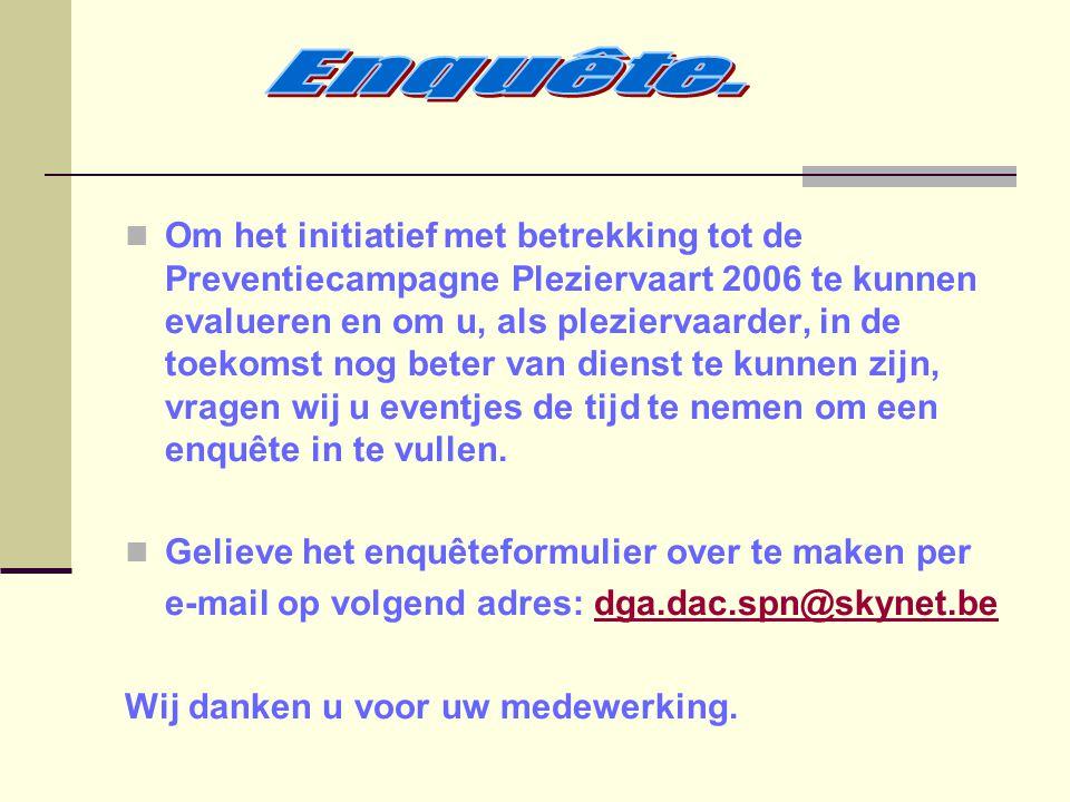 Om het initiatief met betrekking tot de Preventiecampagne Pleziervaart 2006 te kunnen evalueren en om u, als pleziervaarder, in de toekomst nog beter