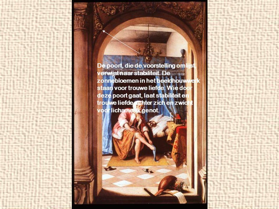 De poort, die de voorstelling omlijst, verwijst naar stabiliteit. De zonnebloemen in het beeldhouwwerk staan voor trouwe liefde. Wie door deze poort g