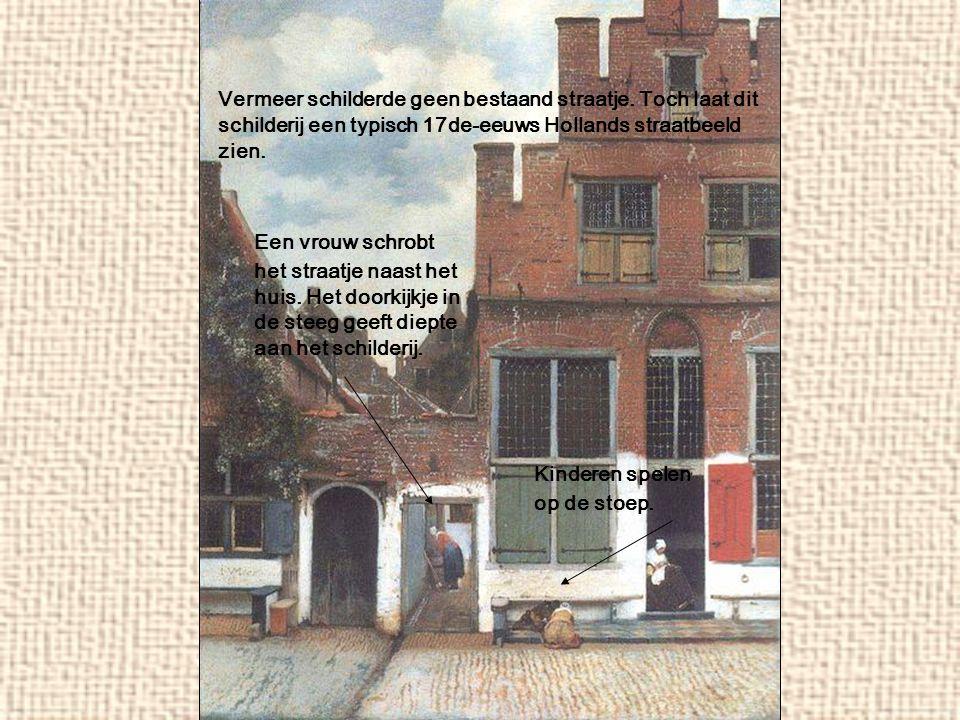 Vermeer schilderde geen bestaand straatje. Toch laat dit schilderij een typisch 17de-eeuws Hollands straatbeeld zien. Een vrouw schrobt het straatje n