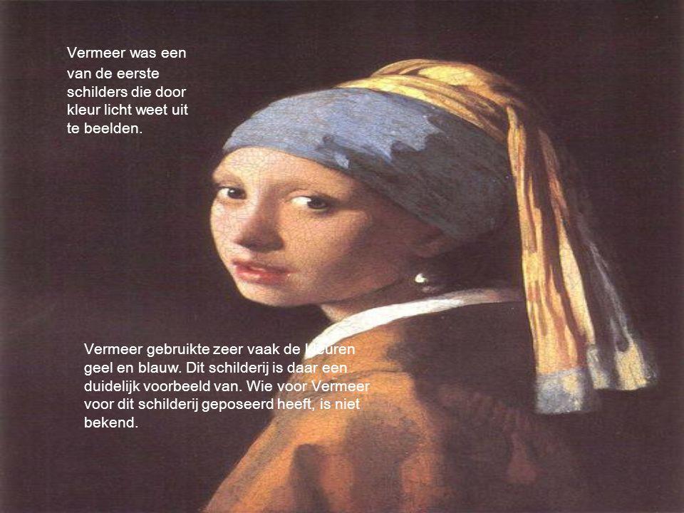 Vermeer gebruikte zeer vaak de kleuren geel en blauw. Dit schilderij is daar een duidelijk voorbeeld van. Wie voor Vermeer voor dit schilderij geposee
