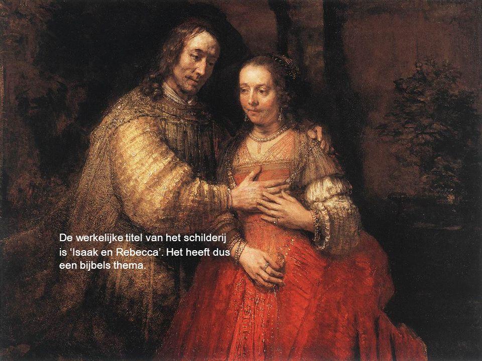 De werkelijke titel van het schilderij is 'Isaak en Rebecca'. Het heeft dus een bijbels thema.