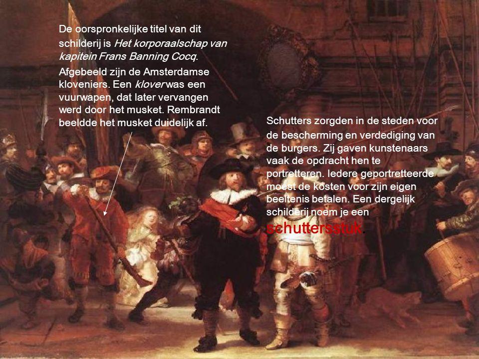 De oorspronkelijke titel van dit schilderij is Het korporaalschap van kapitein Frans Banning Cocq. Afgebeeld zijn de Amsterdamse kloveniers. Een klove