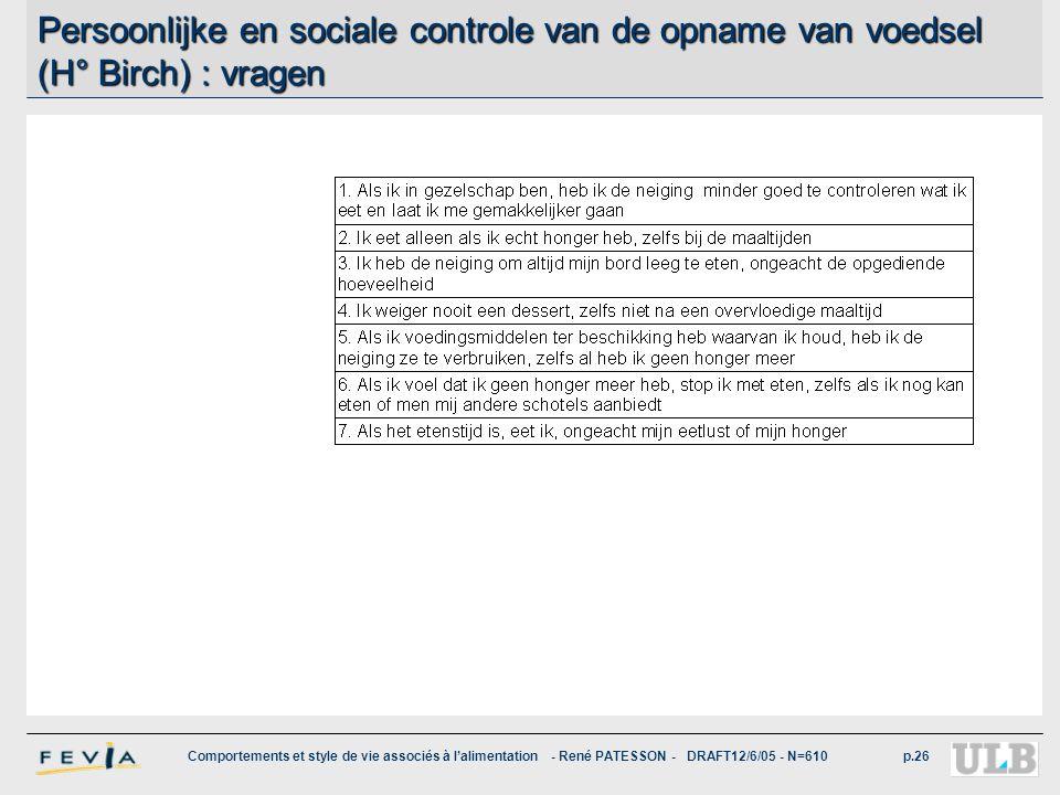 Comportements et style de vie associés à l'alimentation - René PATESSON - DRAFT12/6/05 - N=610p.26 Persoonlijke en sociale controle van de opname van