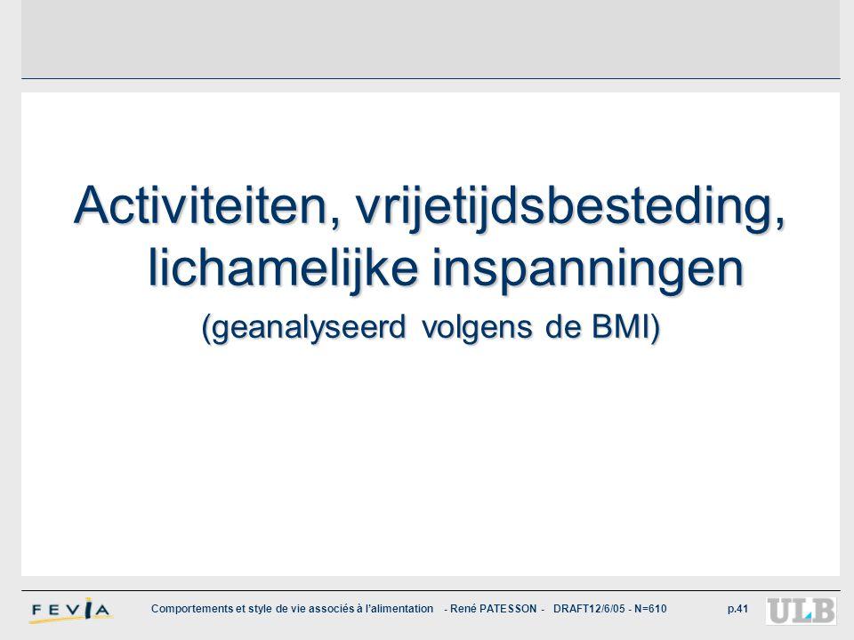 Comportements et style de vie associés à l'alimentation - René PATESSON - DRAFT12/6/05 - N=610p.41 Activiteiten, vrijetijdsbesteding, lichamelijke ins