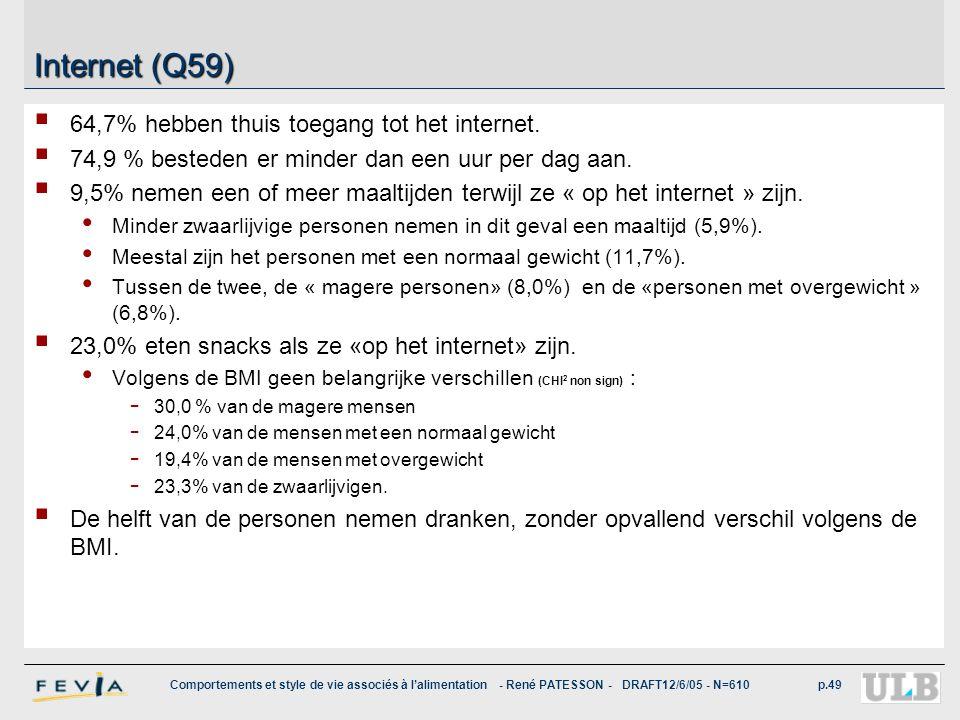 Comportements et style de vie associés à l'alimentation - René PATESSON - DRAFT12/6/05 - N=610p.49 Internet (Q59)  64,7% hebben thuis toegang tot het