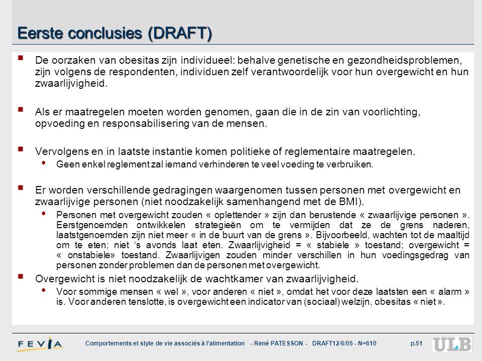 Comportements et style de vie associés à l'alimentation - René PATESSON - DRAFT12/6/05 - N=610p.51 Eerste conclusies (DRAFT)  De oorzaken van obesita