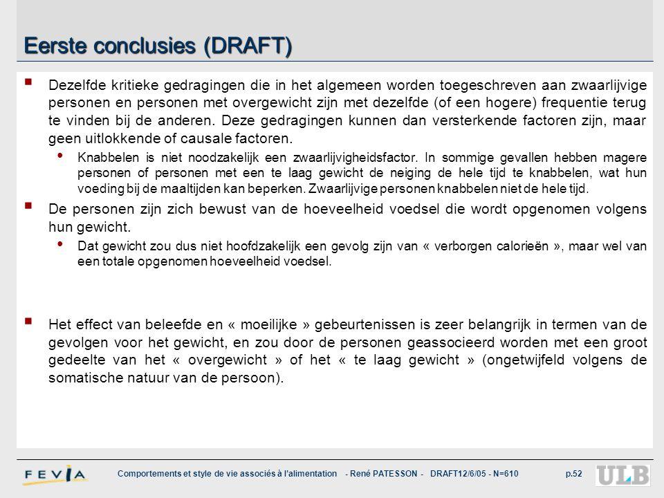 Comportements et style de vie associés à l'alimentation - René PATESSON - DRAFT12/6/05 - N=610p.52 Eerste conclusies (DRAFT)  Dezelfde kritieke gedra