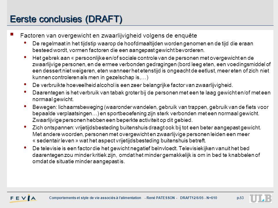 Comportements et style de vie associés à l'alimentation - René PATESSON - DRAFT12/6/05 - N=610p.53 Eerste conclusies (DRAFT)  Factoren van overgewich