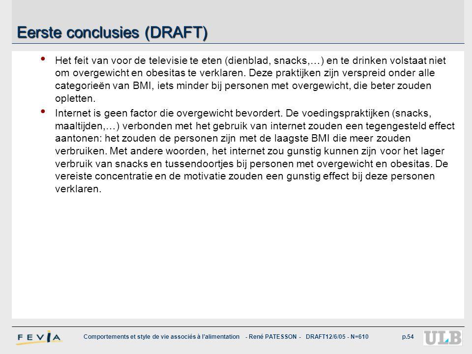 Comportements et style de vie associés à l'alimentation - René PATESSON - DRAFT12/6/05 - N=610p.54 Eerste conclusies (DRAFT) Het feit van voor de tele
